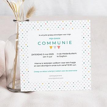Uitnodiging communie jongen - veelvoud aan kleuren - 0