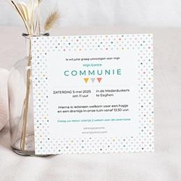 Uitnodiging communie jongen veelvoud aan kleuren