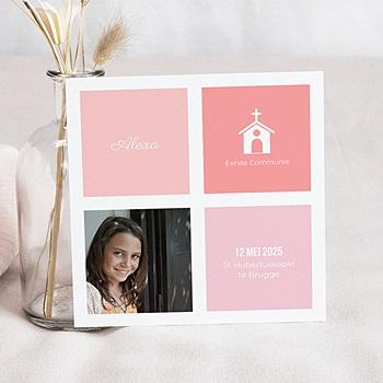 Uitnodiging communie meisje - Roze vakken - 0