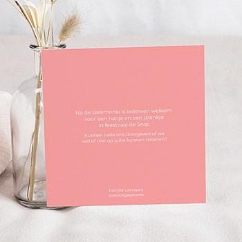 Uitnodiging communie meisje - Roze vakken - 1