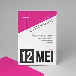 Uitnodiging communie meisje - meiden design - 0