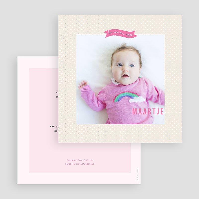 Geboortekaartje meisje - Roze wonderen 40656 thumb