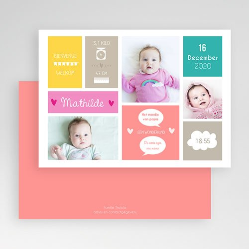 Geboortekaartje meisje - Met blokken spelen 40683 preview