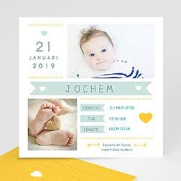 Geboortekaartje jongen Cijfers en letters