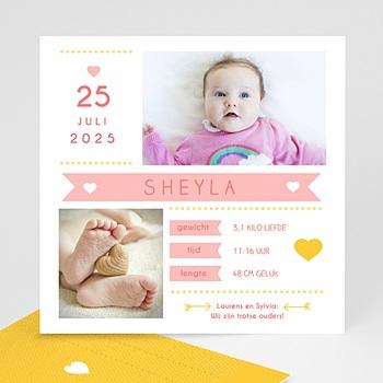 Geboortekaartje meisje - Roze en geel - 0