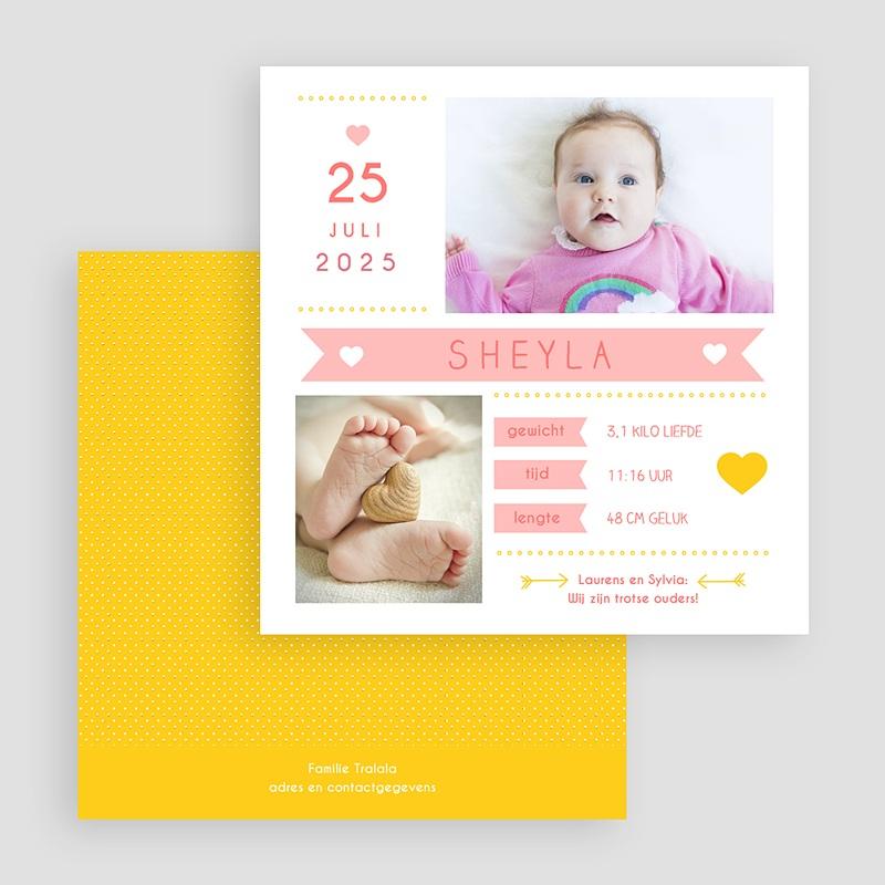 Geboortekaartje meisje Roze en geel gratuit