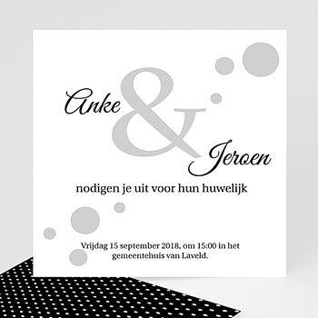 Trouwkaarten Zwart Wit - Confetti 1 - 0
