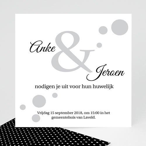 Trouwkaarten Zwart Wit - Confetti 1 40761 thumb
