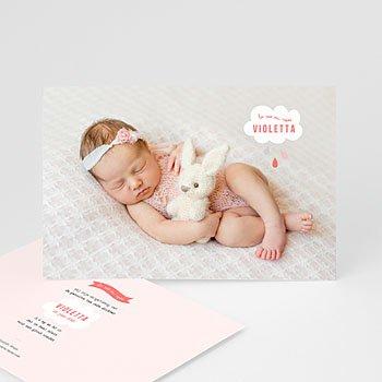 Geboortekaartje meisje - Roze wolken - 0