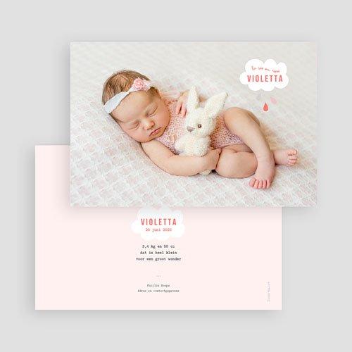 Geboortekaartje meisje - Roze wolken 40816 thumb