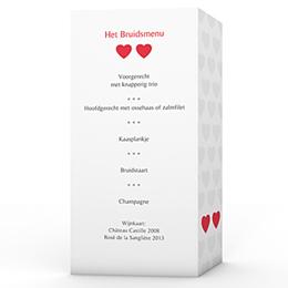 Personaliseerbare menukaarten huwelijk Mijn hart, jouw hart
