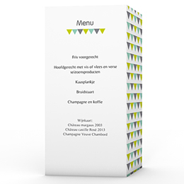 Personaliseerbare menukaarten huwelijk Jolis triangles