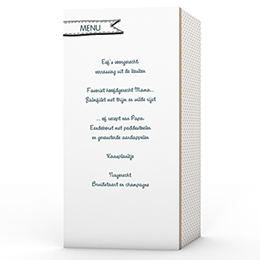 Personaliseerbare menukaarten huwelijk familieboodschap