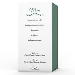 Personaliseerbare menukaarten huwelijk - krans met blaadjes - 0