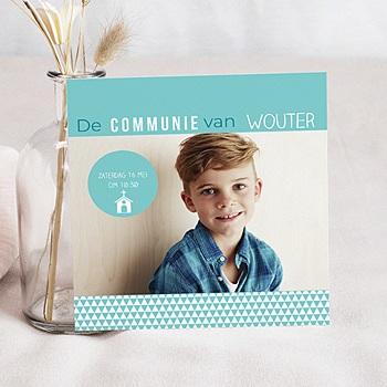 Uitnodiging communie jongen - eerste communie azuur - 0