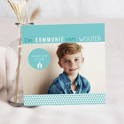Uitnodiging communie jongen - eerste communie azuur 41148 thumb