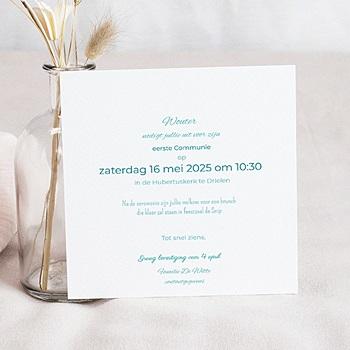 Uitnodiging communie jongen - eerste communie azuur - 1