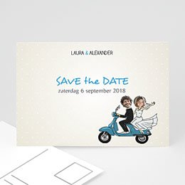 Save the date Huwelijk Vespa
