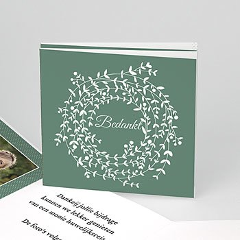 Bedankkaartjes huwelijk - krans met blaadjes - 0