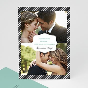 Bedankkaartjes huwelijk - Rayures noires - 0