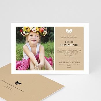 Uitnodiging communie meisje - Wit lint - 0