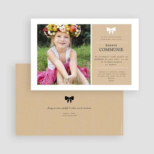 Uitnodiging communie meisje - Wit lint 41629 thumb