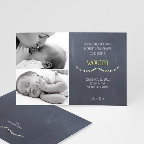 Geboortekaartje jongen - bord bloemen 41645 thumb