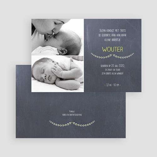 Geboortekaartje jongen - bord bloemen 41647 thumb