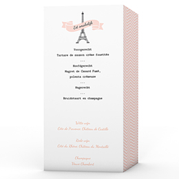 Personaliseerbare menukaarten huwelijk Love in Paris