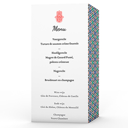 Personaliseerbare menukaarten huwelijk Orientaals modern