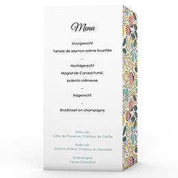 Personaliseerbare menukaarten huwelijk Fleurs des champs