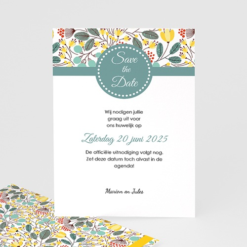 Save The Date Kaartjes Bruiloft Fleurs des champs