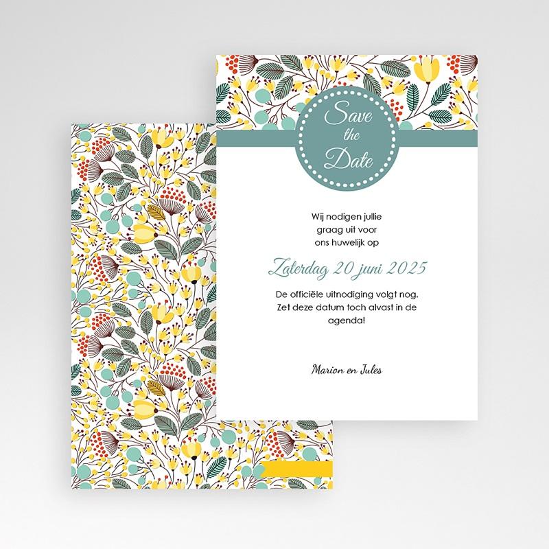 Save The Date Kaartjes Bruiloft Fleurs des champs pas cher
