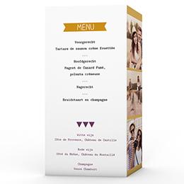 Personaliseerbare menukaarten huwelijk Photo et confettis