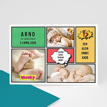 Geboortekaartje jongen - Stripkaart - 0