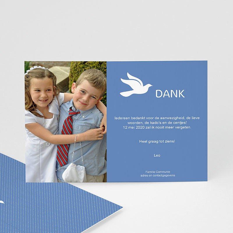 Bedankkaart communie jongen Witte duif