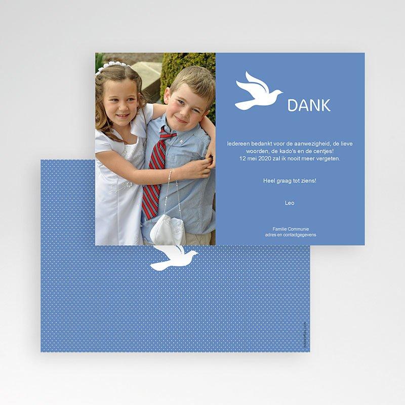 Bedankkaart communie jongen Witte duif pas cher