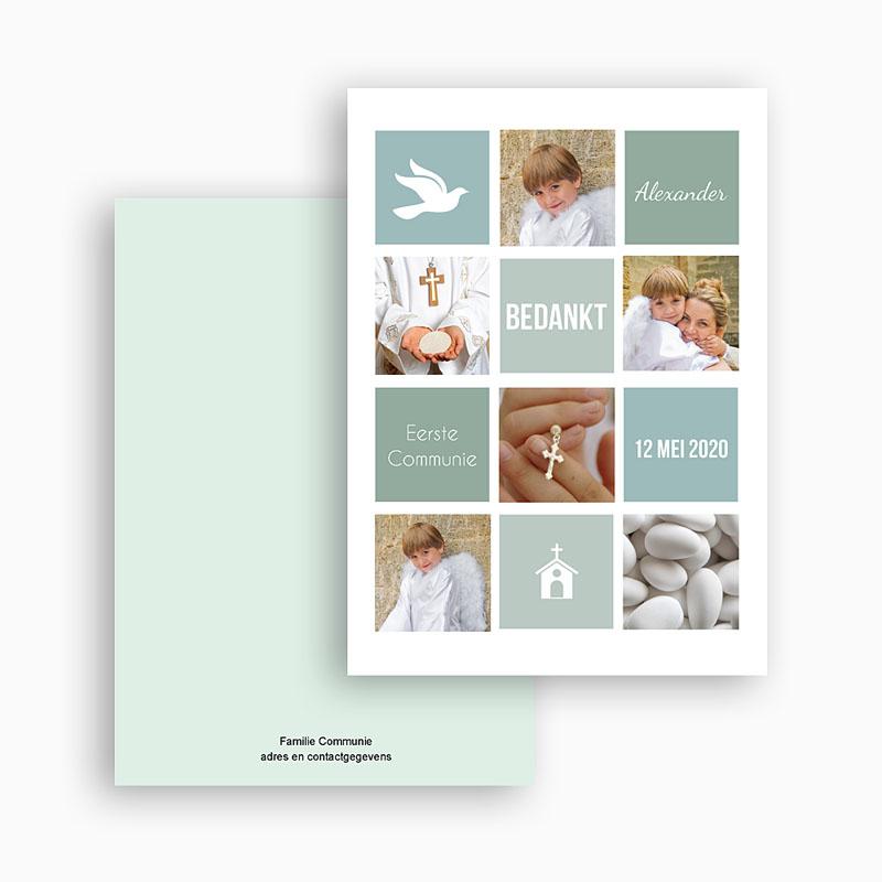 Bedankkaartjes Communie Jongen Pastelvakken gratuit