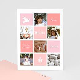 Bedankkaart communie meisje - Roze vakken - 0