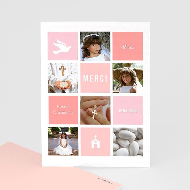 Bedankkaart communie meisje Roze vakken