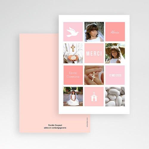 Bedankkaart communie meisje Roze vakken pas cher