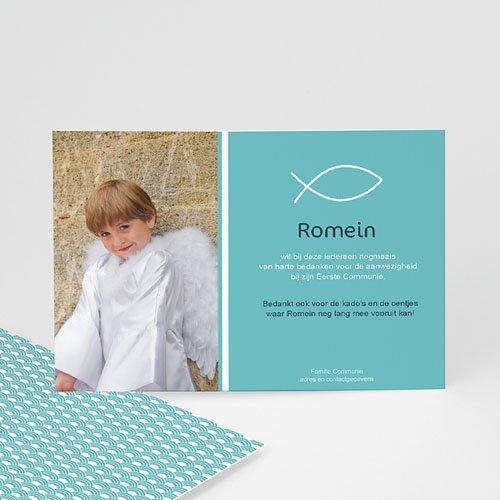 Bedankkaart communie jongen - Icthus vis 43214 thumb