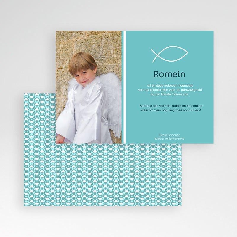 Bedankkaart communie jongen - Icthus vis 43215 thumb