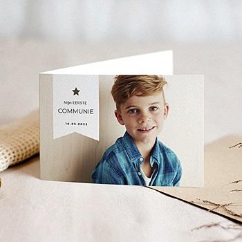 Uitnodiging communie jongen met mooie foto