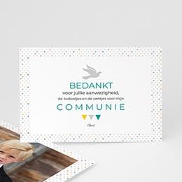 Bedankkaart communie jongen - veelvoud aan kleuren - 0