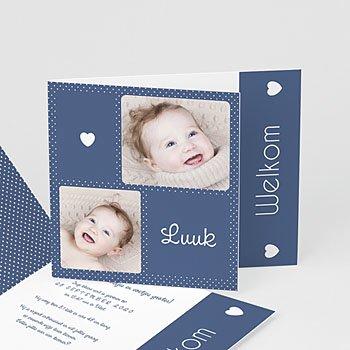 Geboortekaartje jongen - Blauwe vouw - 0
