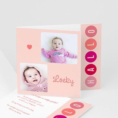 Geboortekaartje meisje - roze ter wereld 43425 thumb