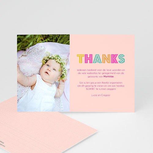 Bedankkaartje geboorte dochter - kleurvolle dag 43559 thumb