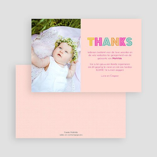 Bedankkaartje geboorte dochter - kleurvolle dag 43561 thumb