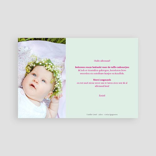 Bedankkaartje geboorte dochter - zomerkindje 43569 preview